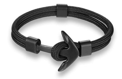 Ocean Life Nautical Anchor Bracelet - Black Abyss