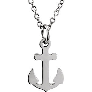 14K White Tiny Posh Petite Anchor 16-18-inch Necklace