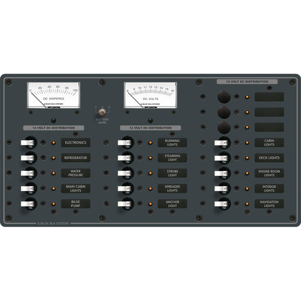 Blue Sea 8378 DC 18 Position Panel - White