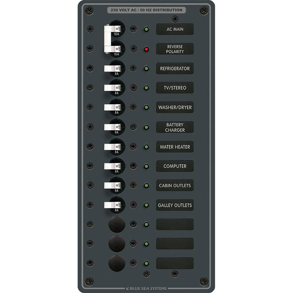 Blue Sea 8585 Breaker Panel - AC Main + 11 Positions (European) - White