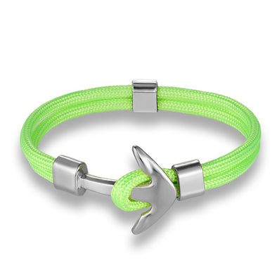 Ocean Life Nautical Anchor Bracelet - Color: Fluorescent green