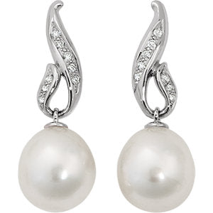 14K White 1/5 Diamond Carats & 12mm South Sea Cultured Pearl Earrings