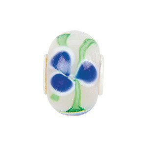 Sterling Silver 14x10mm Blue Flower Green Swirl Glass Bead