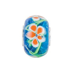 Sterling Silver 14x10mm Blue with Orange Flower Glass Bead