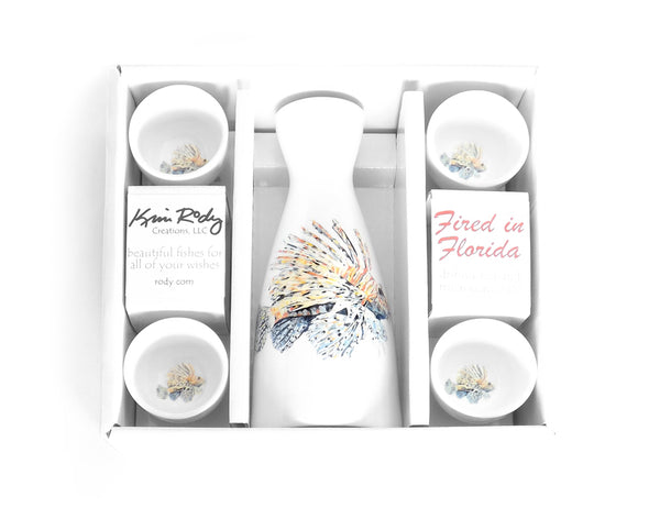 Lionfish Boxed Sake Set with Round Cups