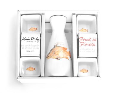 Hogfish Boxed Sake Set with Square Cups