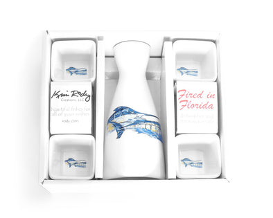 Tandem Marlin Boxed Sake Set with Square Cups