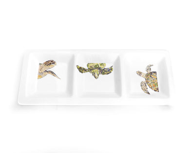 Sea Sea Turtle Trifecta Triptych Rectangular Tri-Dish