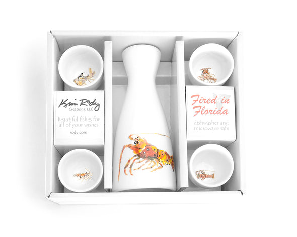 Lobster Boxed Sake Set with Round Cups