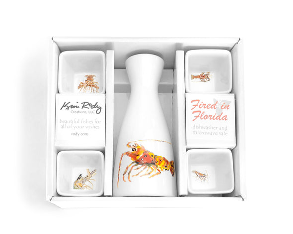Lobster Boxed Sake Set with Square Cups