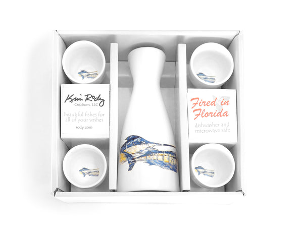 Tandem Marlin Boxed Sake Set with Round Cups