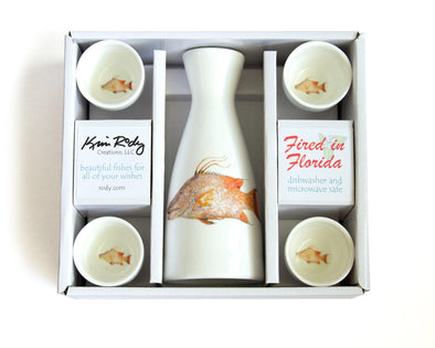 Hogfish Boxed Sake Set with Round Cups