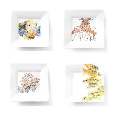 Four Sea Creature Salad Plate Set