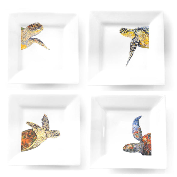 Four Sea Turtle Dinner Plate Set