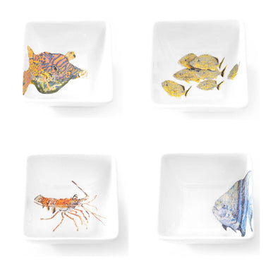 Four Sea Creature Square Bowl Set