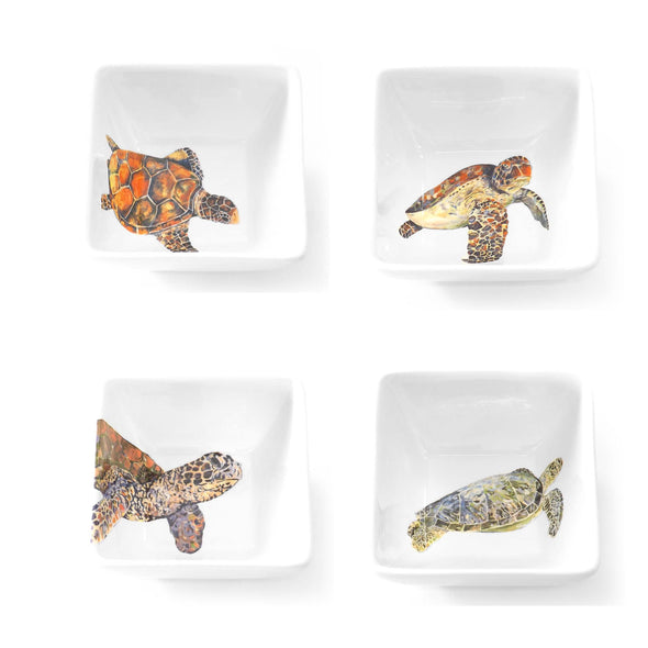 Four Sea Turtle Square Bowl Set