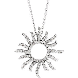 14K White 3/8 Diamond Carats Beaming Sun Necklace