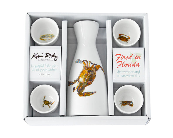 Blue Crab Boxed Sake Set with Round Cups