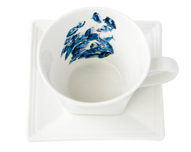 Gray Snappers Tea Cup and Saucer