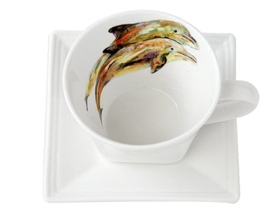 Pair of Dolphins Tea Cup and Saucer