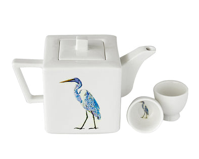Cris Egret Teapot with Two Round Cups