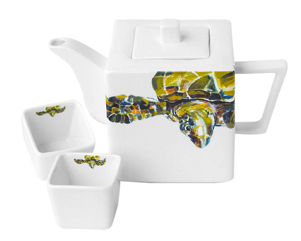 Green Sea Turtle Teapot with Two Square Cups