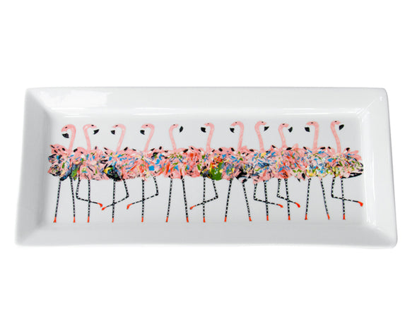 Flamingo Chorus Line Rectangle Platter