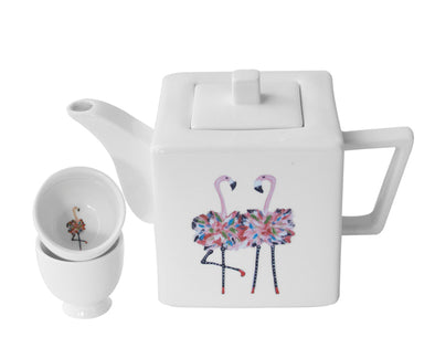 Flamingo Teapot with Two Round Cups