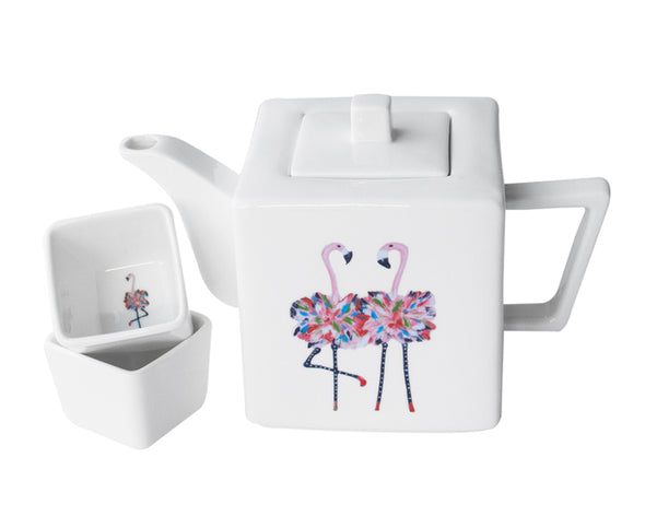 Flamingo Teapot with Two Square Cups