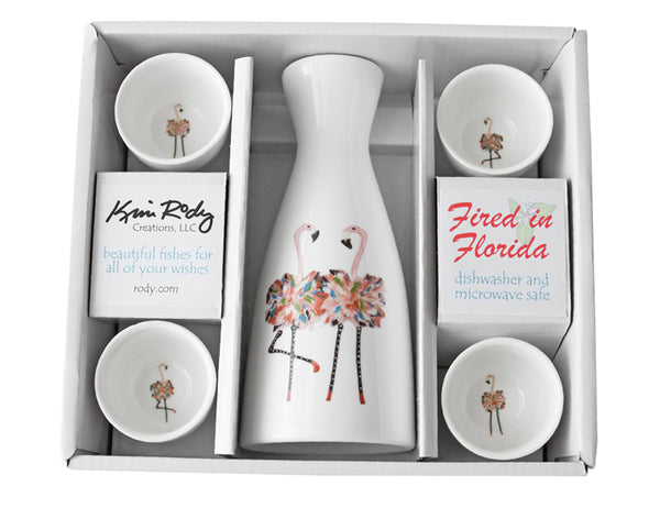 Flamingos Boxed Sake Set (Round Cups)