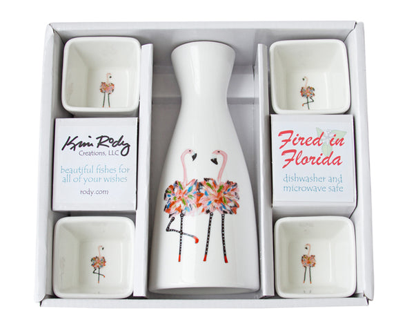 Flamingos Boxed Sake Set with Square Cups