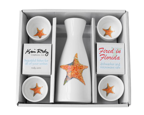 Starfish Boxed Sake Set (Round Cups)