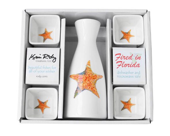 Starfish Boxed Sake Set with Square Cups
