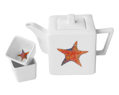 A Star is Born Teapot with Two Square Cups