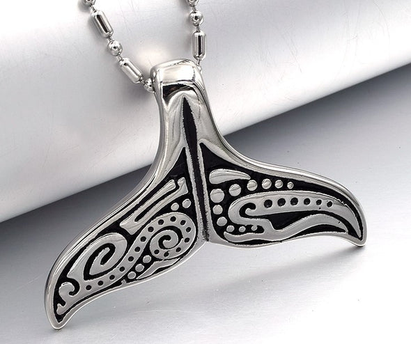 Stainless Steel Polynesian Whale Tail Necklace