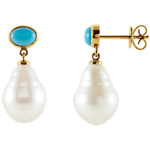 14K White 8x6mm Turquoise & 12mm South Sea Cultured Pearl Earrings