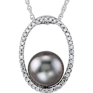 14K White Tahitian Cultured Pearl and 1/3 Diamond Carats 18-inch Necklace