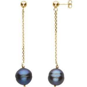 14K Yellow Freshwater Cultured Black Pearl Earrings