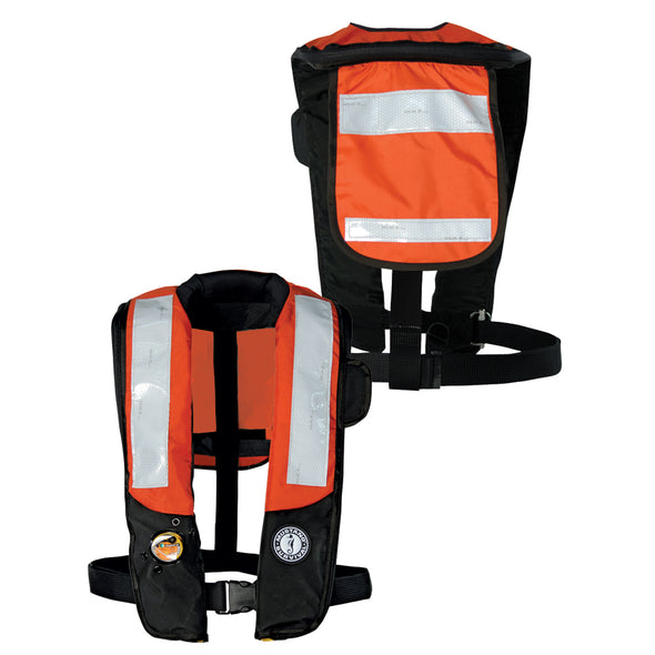 Mustang Deluxe Auto Inflatable PFD w/SOLAS Reflective Tape - Orange/Black