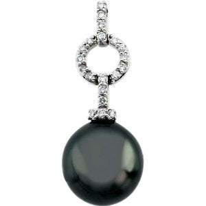 14K White Tahitian Cultured Pearl & 1/5 Diamond Carats Pendant