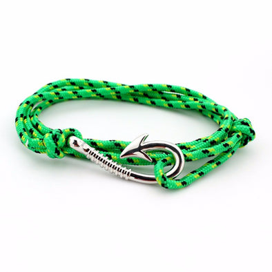 Ocean Life Fish Hook Bracelet - Color: Silver green