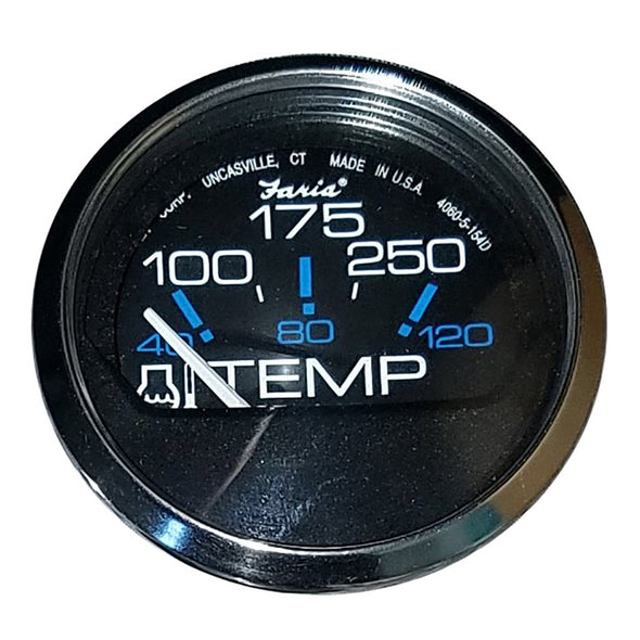 "Faria Chesapeake Black SS 2"" Water Temperature Gauge (100-250°F)"