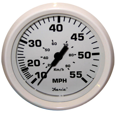"Faria Dress White 4"" Speedometer - 55MPH (Mechanical)"