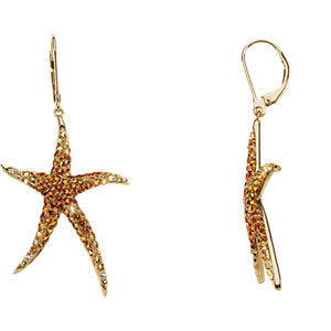 14K Yellow Madeira Citrine, Citrine & Lime Quartz Starfish Earrings