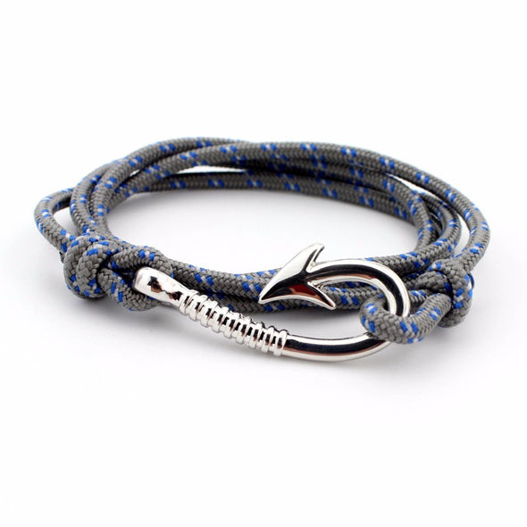 Ocean Life Fish Hook Bracelet - Color: Silver gray