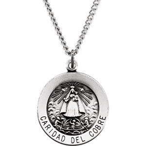 Sterling Silver 18mm Round Caridad del Cobre Medal 18-inch Necklace