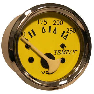 VDO Allentare Yellow/Blue 250°F Water Temperature Gauge - Use w/Marine 450-29 Ohm Sender - 12V