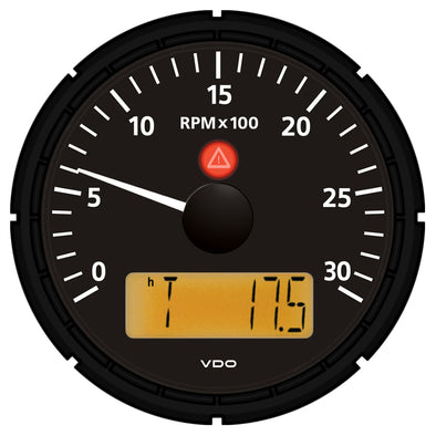 "VDO Viewline Onyx 3,000 RPM 3-3/8"" (85mm) Tachometer w/2 Hourmeters, Clock and Voltmeter - 12/24V"