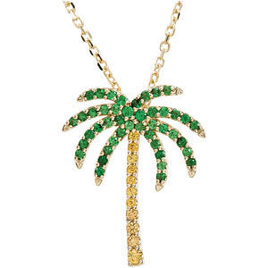 14K Yellow Tsavorite Garnet & Yellow Sapphire Palm Tree 16-inch Necklace