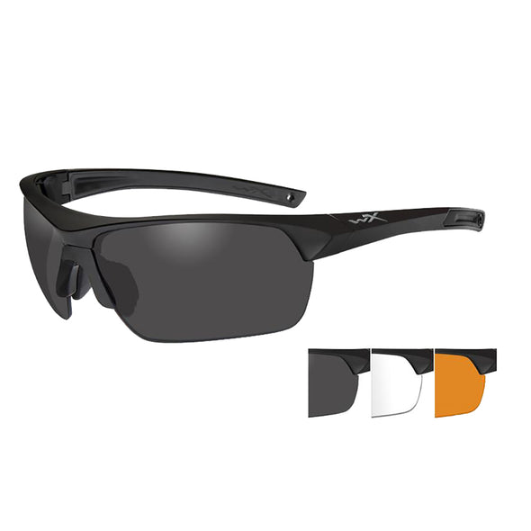 Wiley X Guard Advanced Sunglasses - Smoke Grey/Clear/Rust Lens - Matte Black Frame